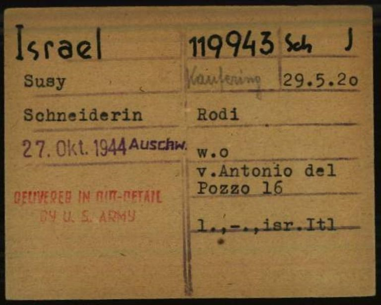 Registry office card, 1.1.6.7/10666418/ITS Digital Archive, Bad Arolsen.