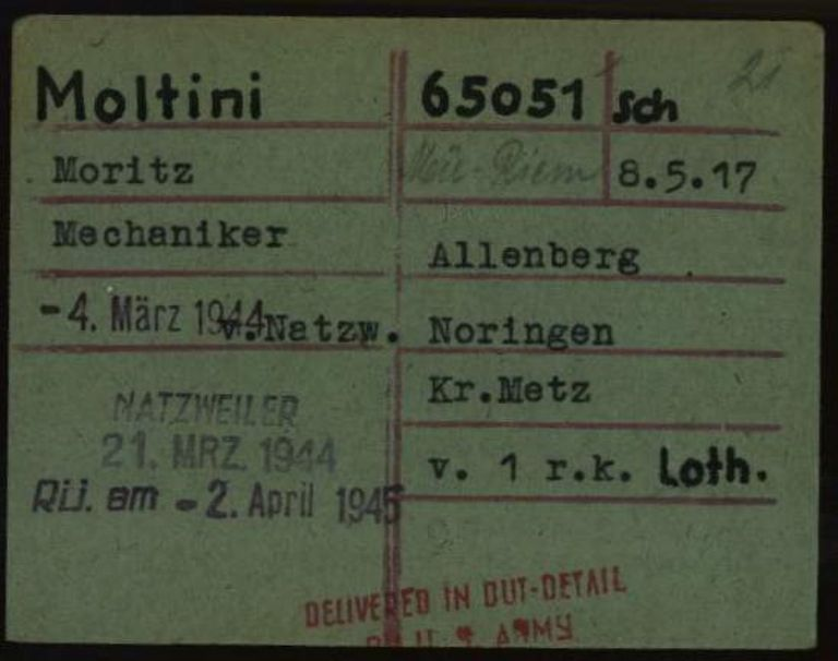 Registry office card, 1.1.6.7/10710934/ITS Digital Archive, Bad Arolsen.