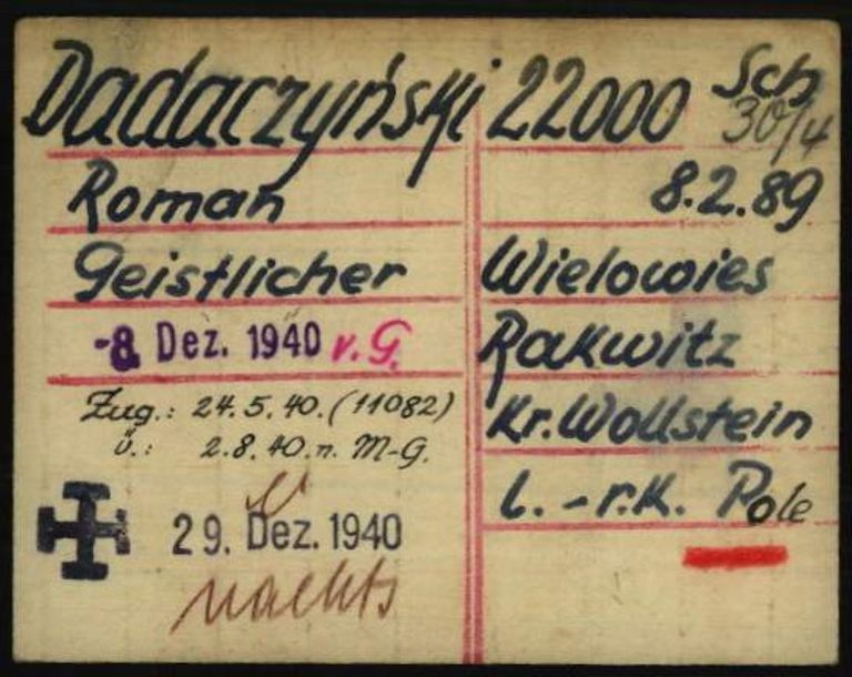 Registry office card, 1.1.6.7/10630408/ITS Digital Archive, Bad Arolsen.