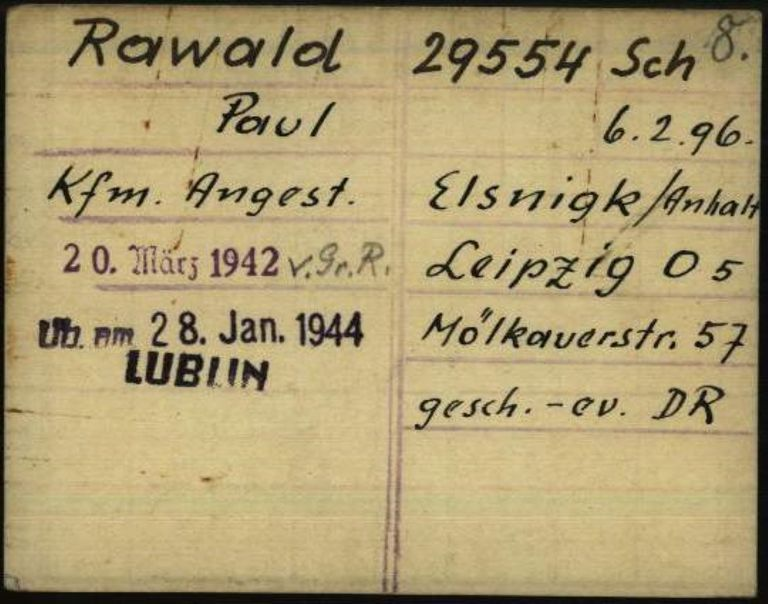 Registry office card, 1.1.6.7/10733849/ITS Digital Archive, Bad Arolsen.